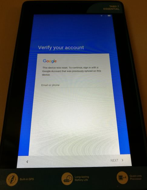 Android Factory Reset - Login Google account