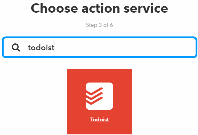 IFTTT Choose action service