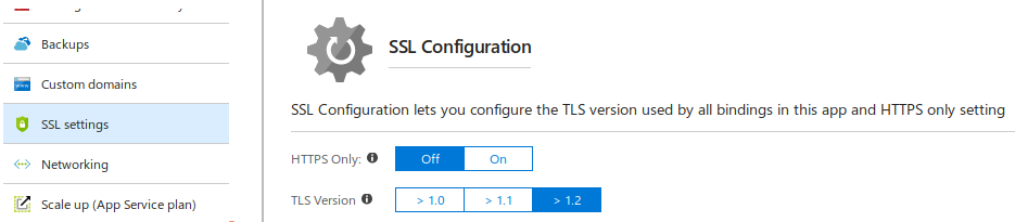 Azure App Service - SSL Settings