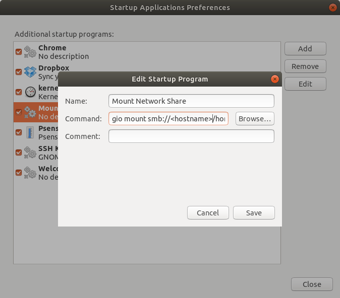 Startup Applications Preferences - Mount Network Share