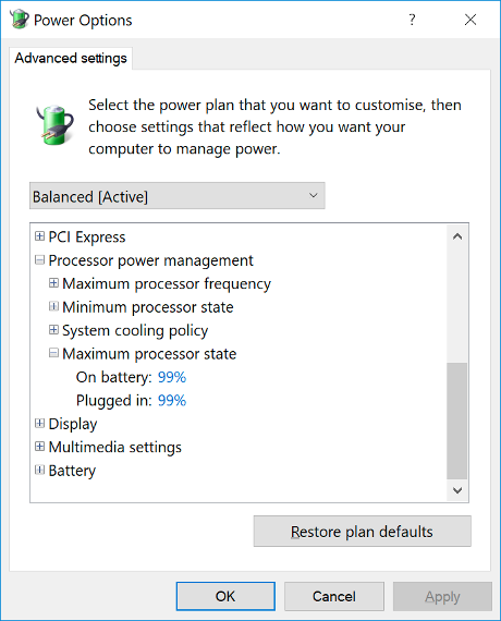 Windows - Power Options - Maximum processor state 99%